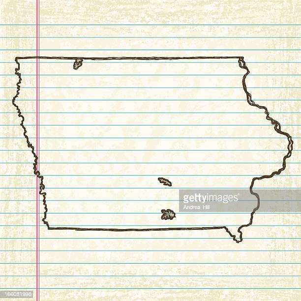 Vector Sketchy Map on Old Lined Paper Background. Iowa.