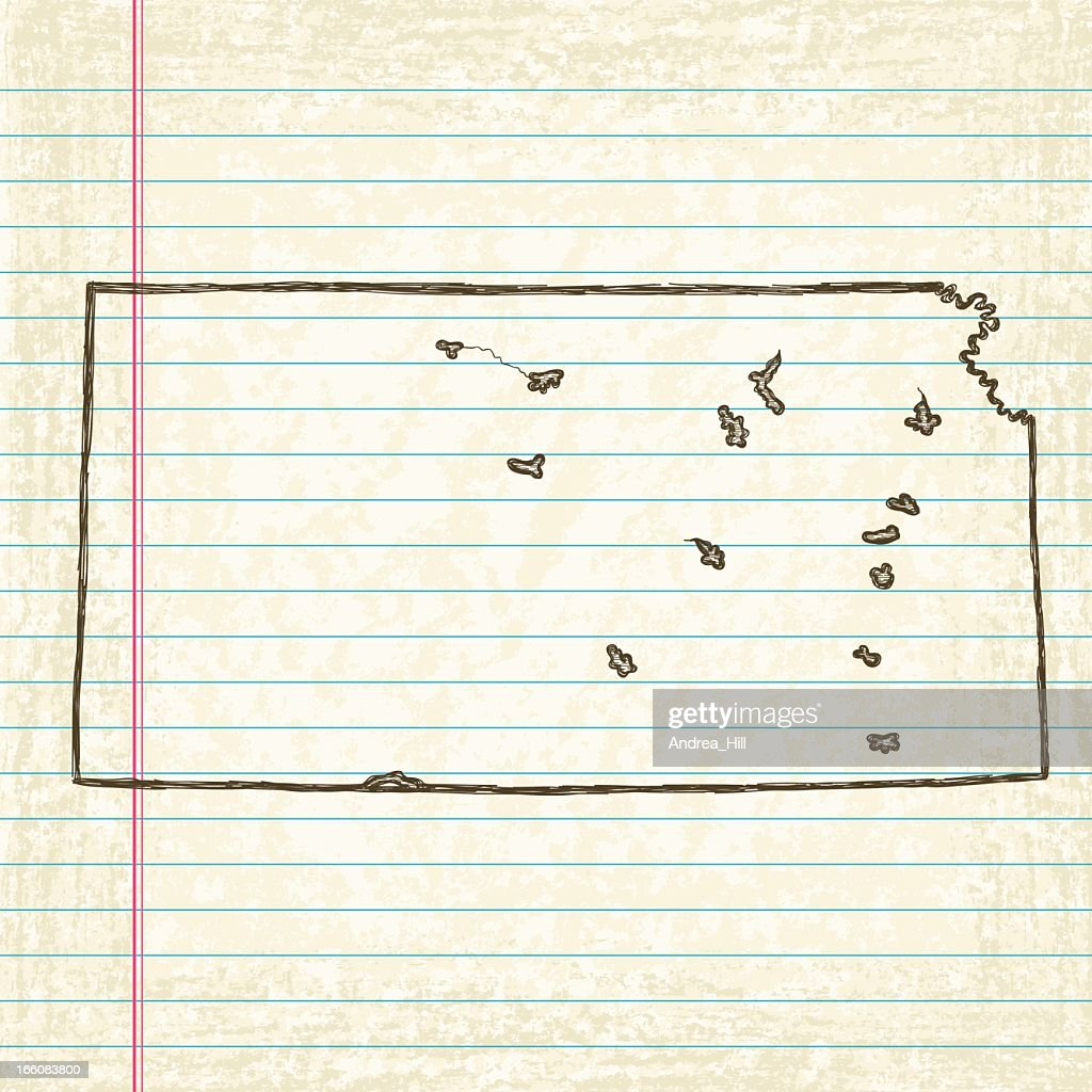 Vector Sketchy Map On Old Lined Paper Background. Kansas. : Vector Art  Line Paper Background