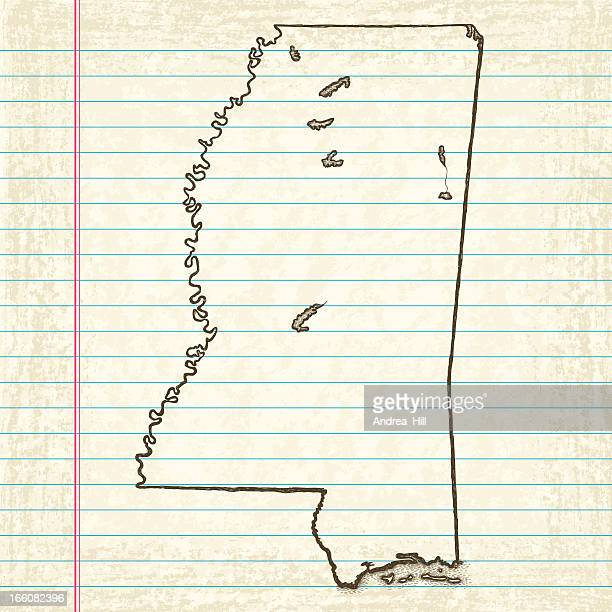 Vector Sketchy Map on Old Lined Paper Background. Mississippi.