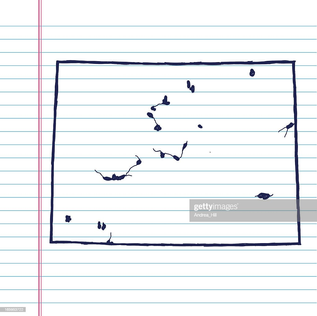 Vector Sketchy Map On White Lined Paper Background Colorado