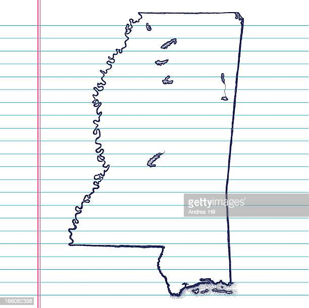 vector sketchy map on white lined paper background. mississippi. - mississippi stock illustrations, clip art, cartoons, & icons