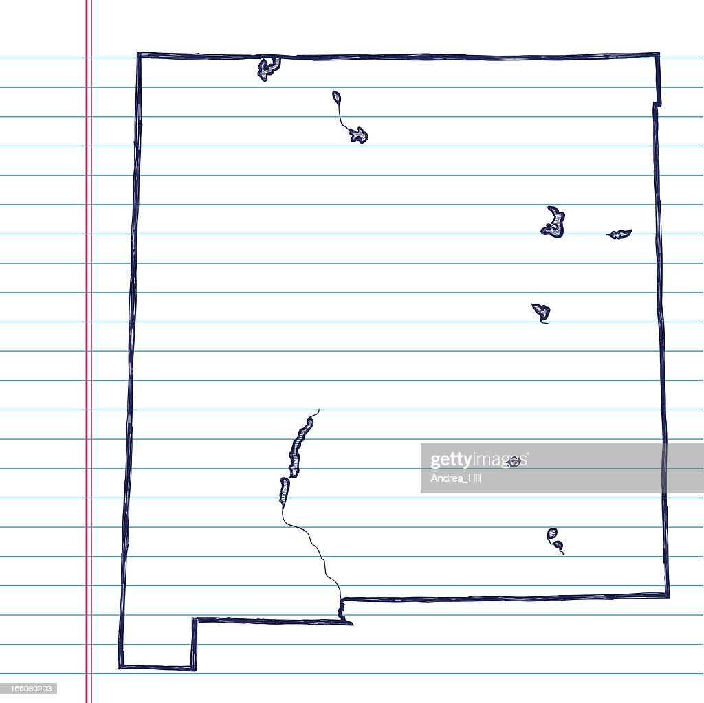 Vector Sketchy Map On White Lined Paper Background. New Mexico. : Vector Art  Line Paper Background