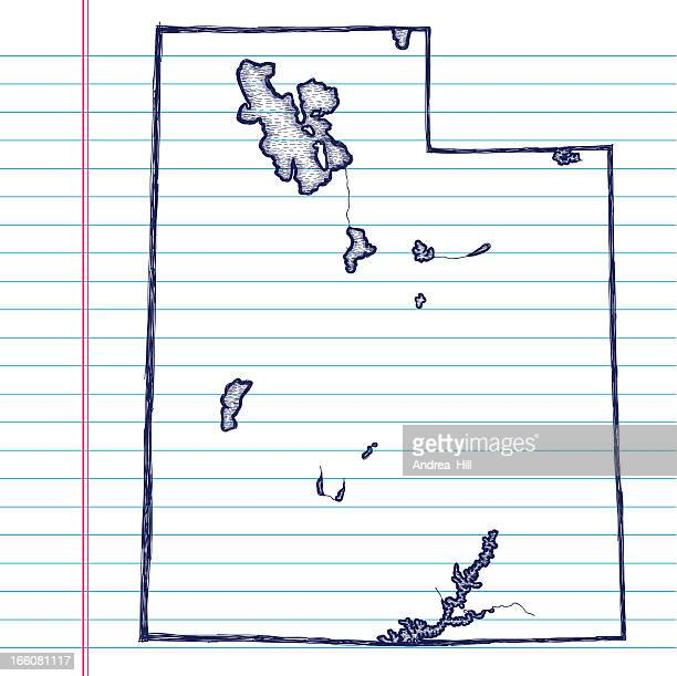Vector Sketchy Map on White Lined Paper Background. Utah.