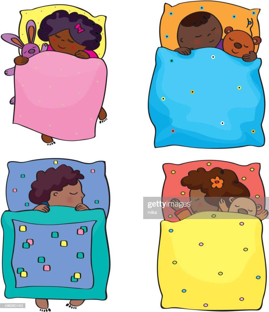 Vector sleeping kids.