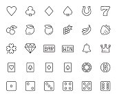 Vector slot machine symbols and casino related icon set