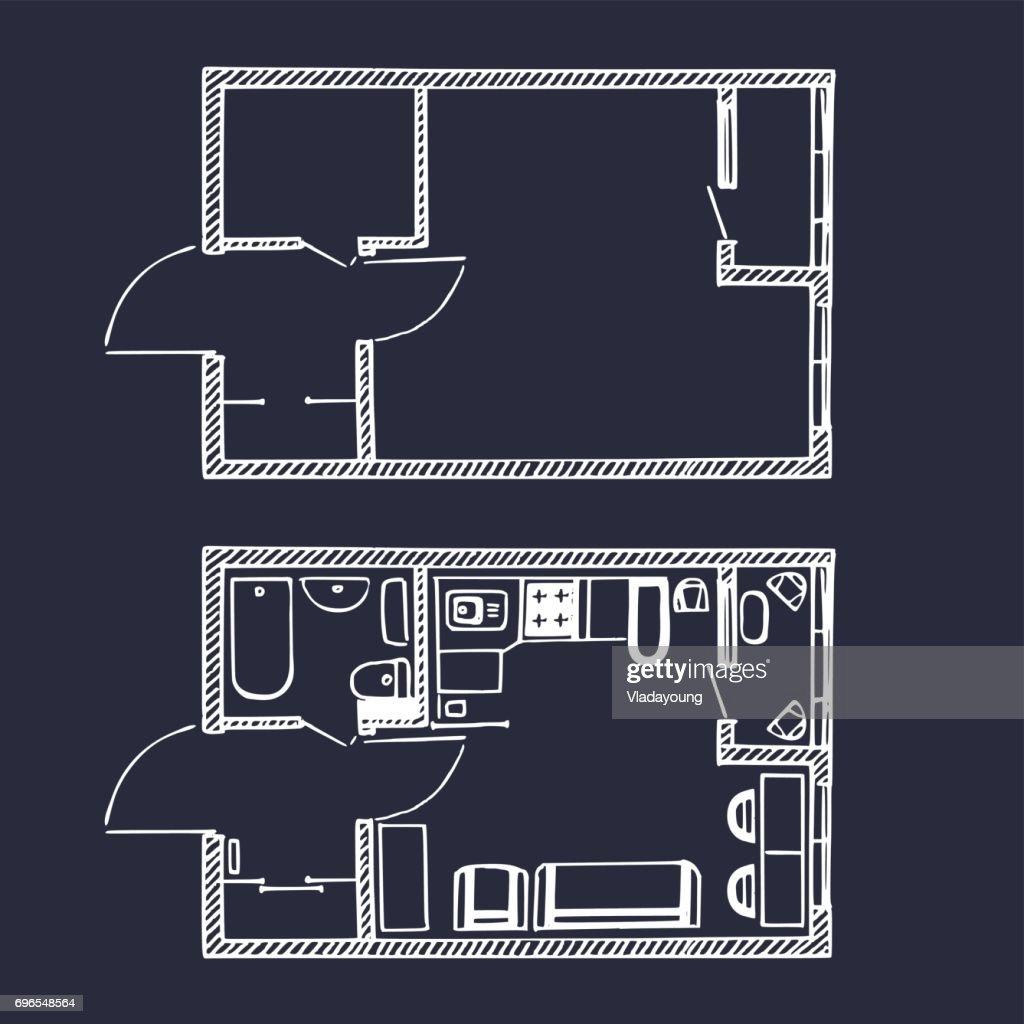 Vektor Kleinwohnungen Grundriss Im Stil Sketch. Zimmer Draufsicht Mit Und  Ohne Möbel. : Vektorgrafik