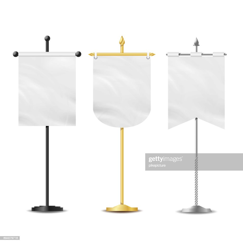 Vector Small Table Flag Set. White Blank. Different Shapes