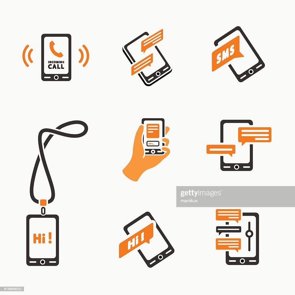 Vector smart phone icons on White : Vector Art