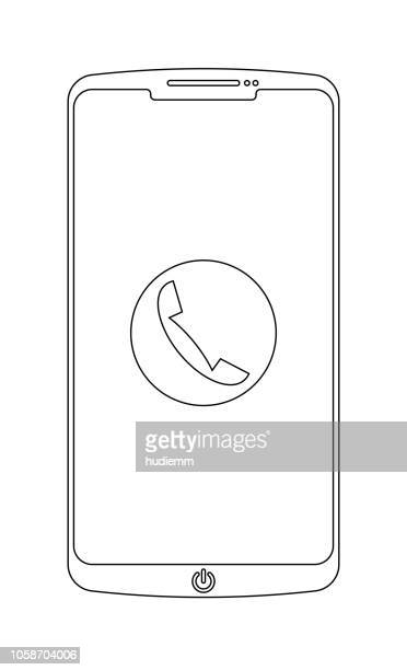 Vector smart phone with outline isolated on white