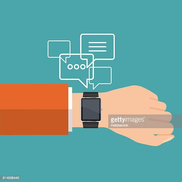 vector smart watch communication - wrist stock illustrations, clip art, cartoons, & icons