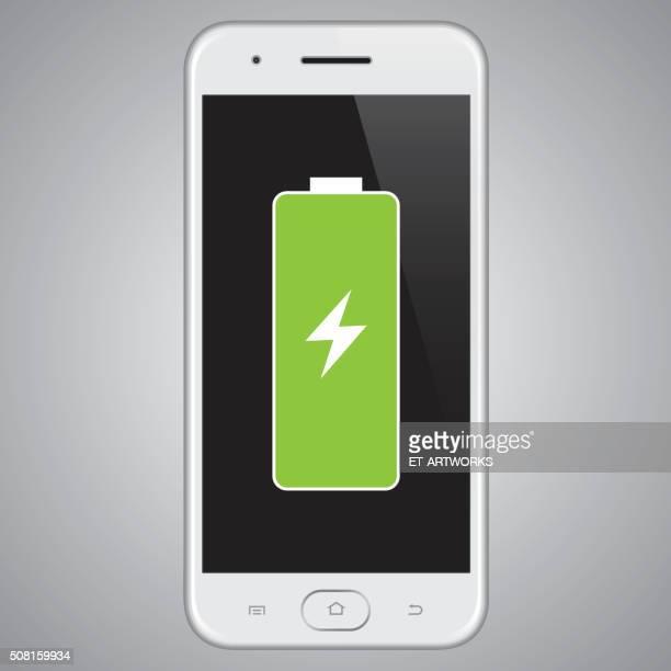 vektor-smartphone mit batterie. - aufladen stock-grafiken, -clipart, -cartoons und -symbole