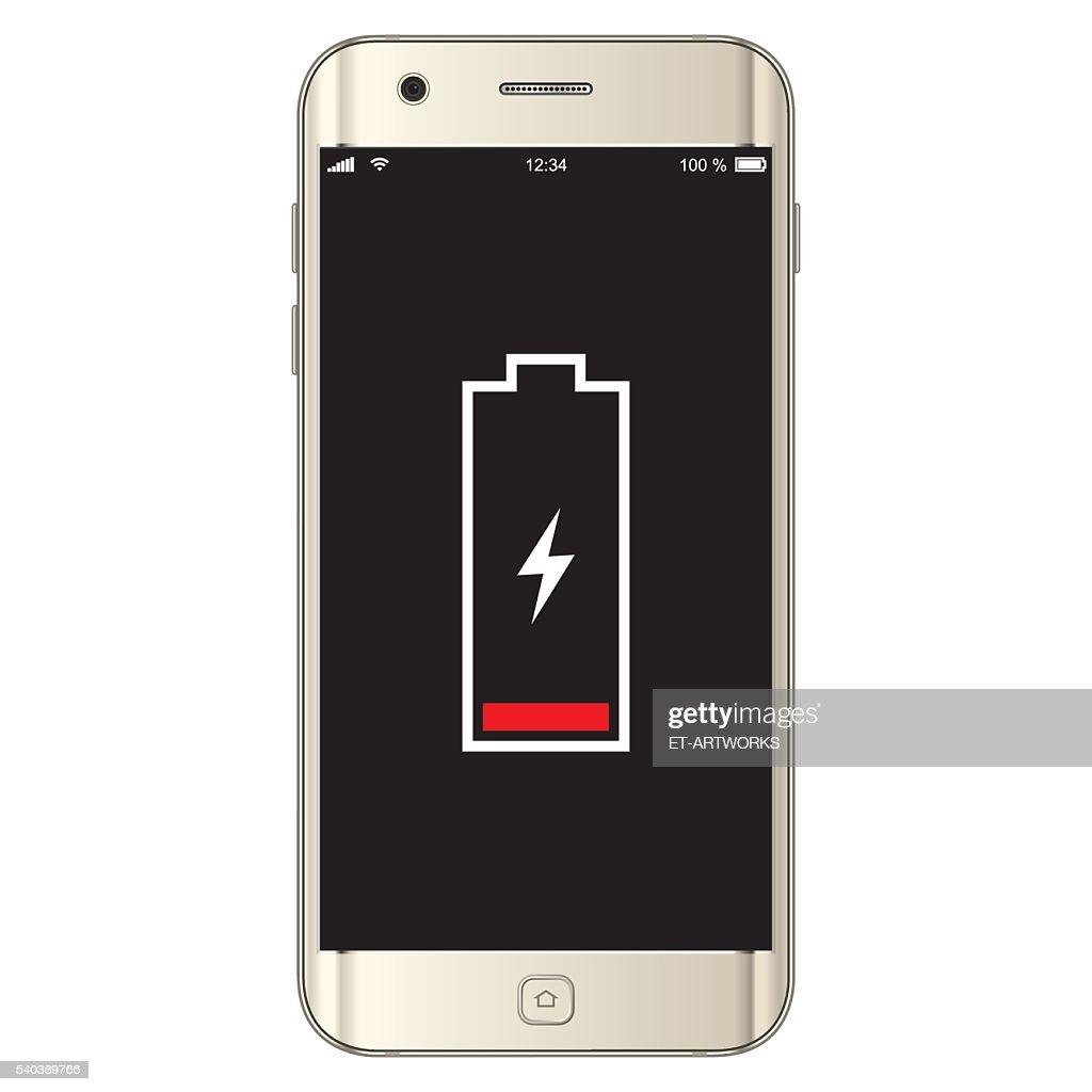 Vector Smartphone Low Battery