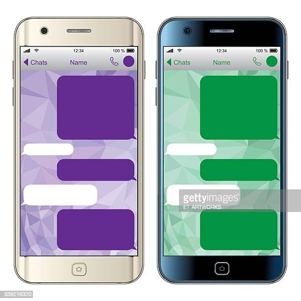 vector smartphone with message screen - retail display stock illustrations