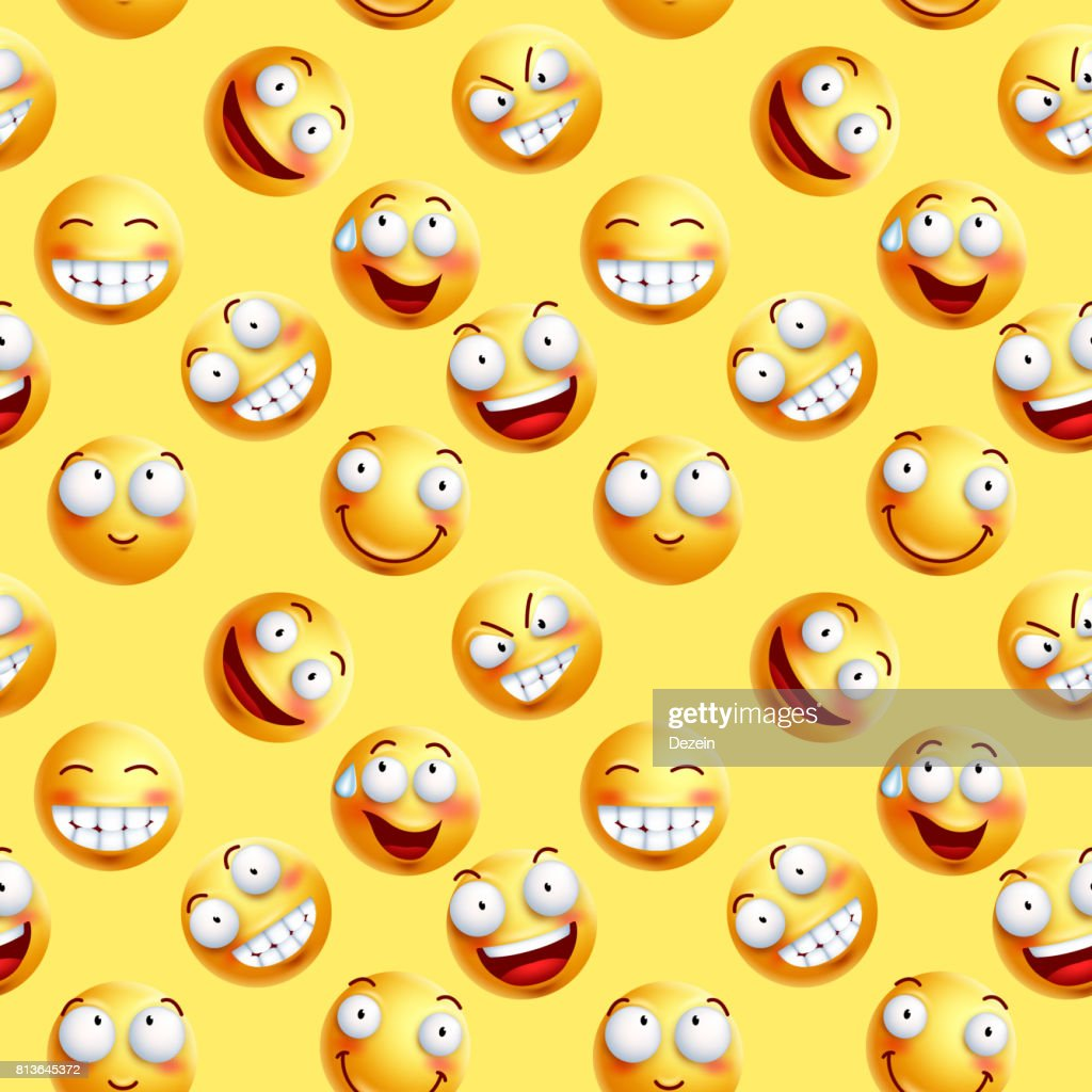 Vector smileys wallpaper continuous pattern with seamless facial expressions