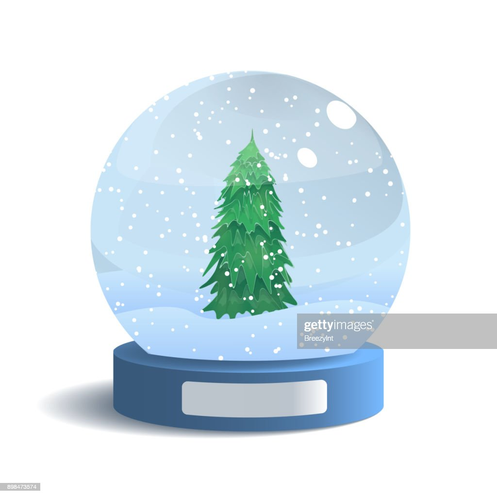 Vector Snow Globe Isolated on White Background