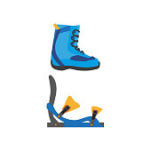 vector snowboarding boots, bindings isolated