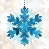 Vector snowflake with winter background. New Year greeting card.