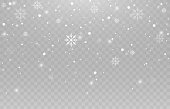 Vector snowflakes. Snowfall, snow. Snowflakes on an isolated background. PNG snow. Snow storm, Christmas snow. Vector image.