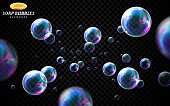 Vector soap bubbles set isolated on black transparent background. Special effect for design. Water spheres with air, soapy balloons, lather, suds, soap suds. Glossy foam balls. 3d illustration