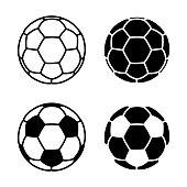 Vector Soccer Ball Icon on White Backgrounds
