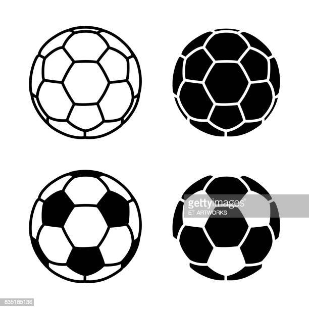vector soccer ball icon on white backgrounds - sports ball stock illustrations