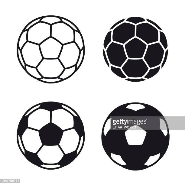 vector soccer ball icon on white backgrounds - football stock illustrations