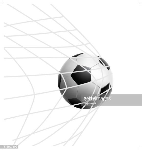vektor-fußball im netz - tor sportgerät stock-grafiken, -clipart, -cartoons und -symbole
