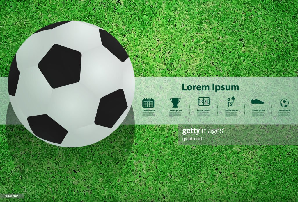 Vector soccer ball on the field