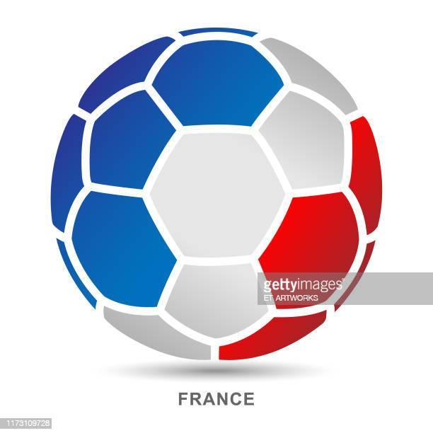 illustrations, cliparts, dessins animés et icônes de bille de football de vecteur avec français drapeau national sur des arrière-plans blancs - ligue professionnelle nord américaine de football