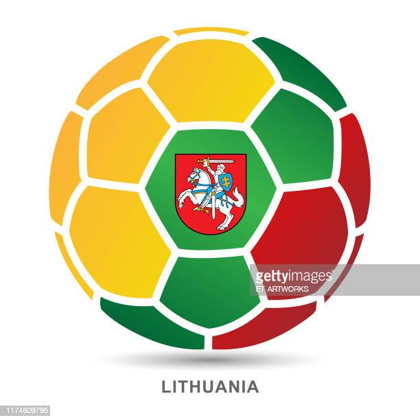 vector soccer ball with lithuanian national flag on white background - lithuania stock illustrations