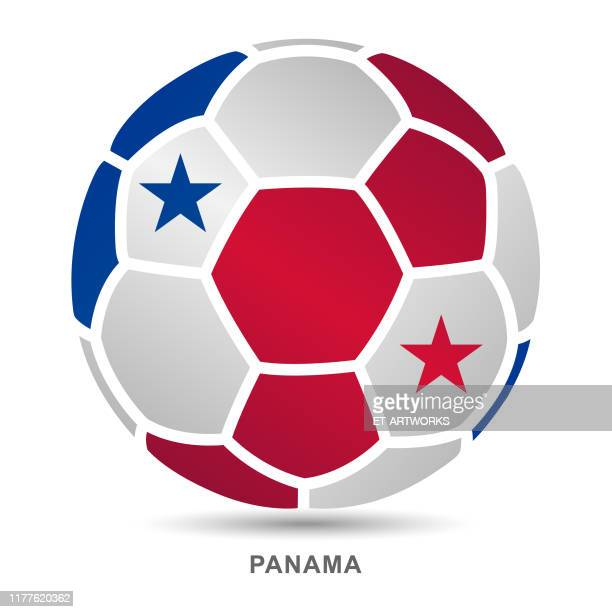 vector soccer ball with panamanian national flag on white background - panama city stock illustrations, clip art, cartoons, & icons