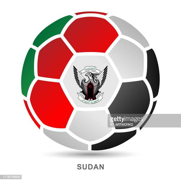 vector soccer ball with sudanese national flag on white background - club soccer stock illustrations