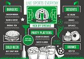 Vector soccer bar football beer pub meals menu