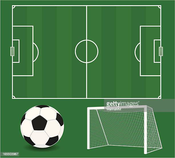 vector soccer elements. football. - goal post stock illustrations