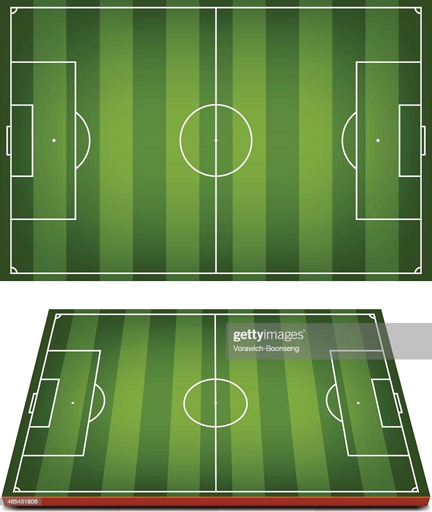 Vector Soccer Fields Striped Grass