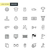 Vector soccer line icons