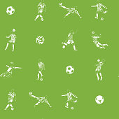 vector soccer (football) players athlets seamless pattern