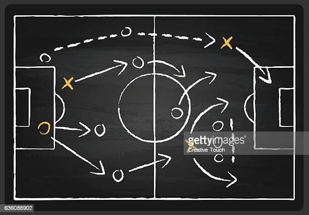 vector soccer tactics blackboard - strategie stock-grafiken, -clipart, -cartoons und -symbole