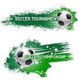 Vector soccer tournament of flying football ball