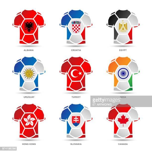 vector soccer uniforms - croatian flag stock illustrations, clip art, cartoons, & icons