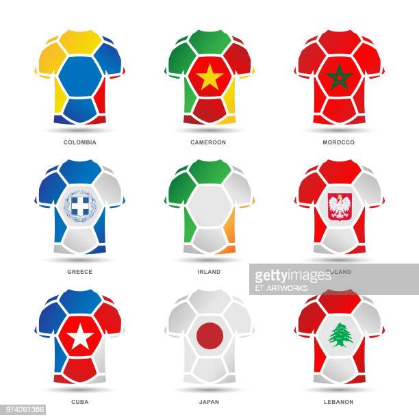 vector soccer uniforms - lebanon country stock illustrations, clip art, cartoons, & icons