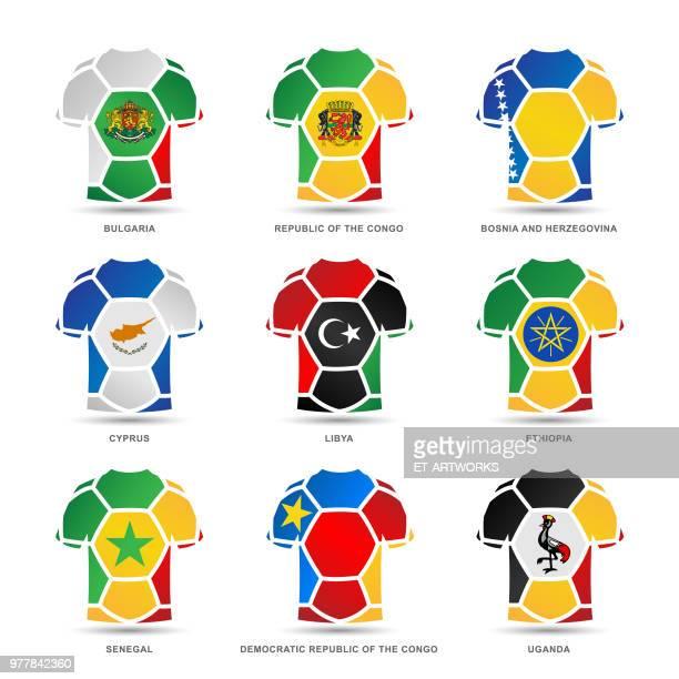 vector soccer uniforms - senegal stock illustrations, clip art, cartoons, & icons