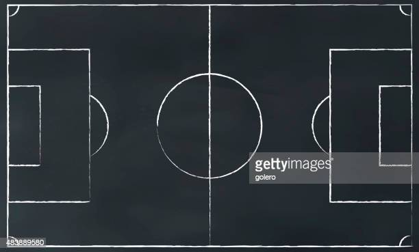vector soccerfield illustration on chalk board - football field stock illustrations, clip art, cartoons, & icons