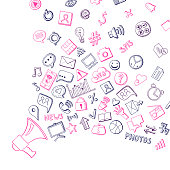 Vector social media hand drawn elements flying out of loudspeaker background