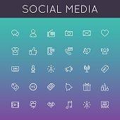 Vector Social Media Line Icons