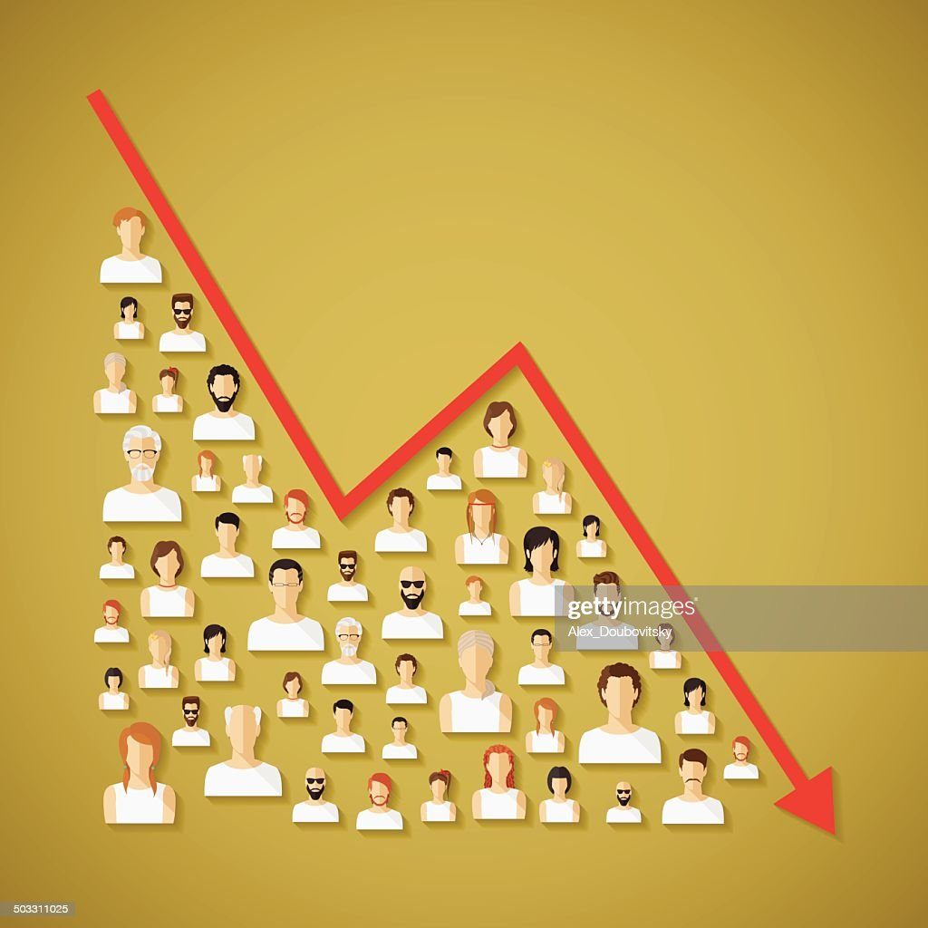 Vector social network population and demography decline concept.