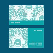 Vector soft peacock feathers horizontal stripe frame pattern business cards