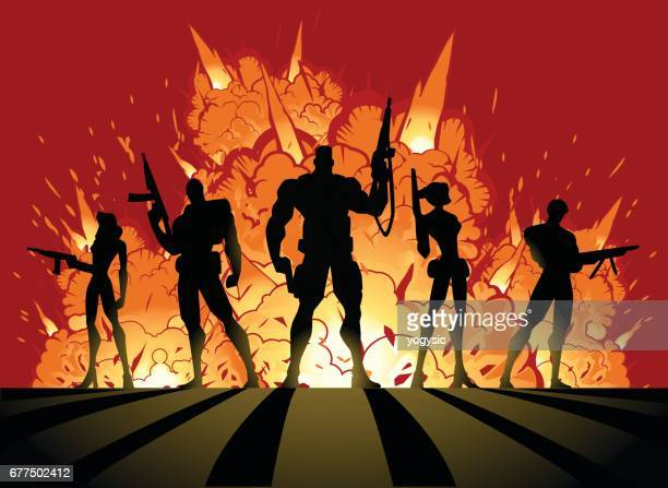 vector soldiers silhouette with explosions - special forces stock illustrations, clip art, cartoons, & icons