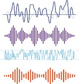 Vector Sound Waveforms. Sound waves and musical icons. Sound wav