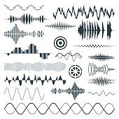Vector Sound Waves Set. Audio